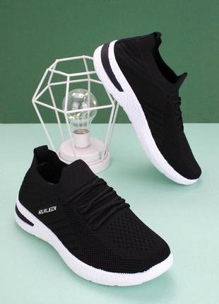 Черные легкие кроссовки кеды сетка текстильные для бега спорта мокасины