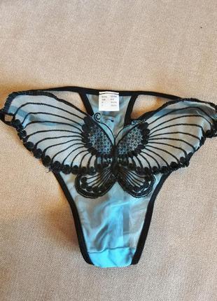 Трусики стринги бабочка прозрачная сетка размер xs s