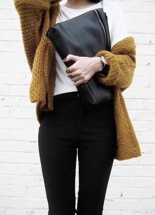 Кардиган горчичного желтого цвета красивая вязка с объёмными рукавами
