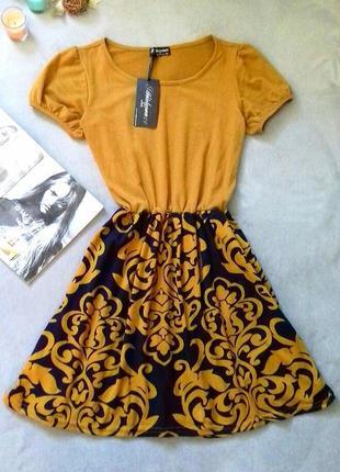 Шикарное платье принт узор шерсть
