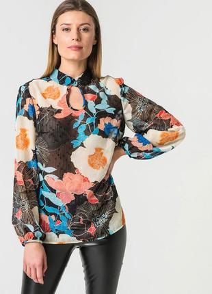 Блуза из шифона с цветочным принтом черная