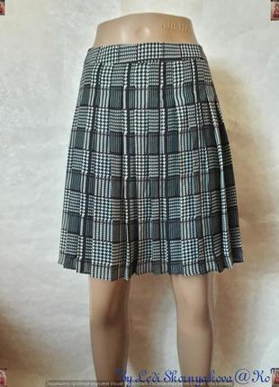 Фирменная tommy hilfigher стильная плессированая мини юбка в клетку, размер м-л