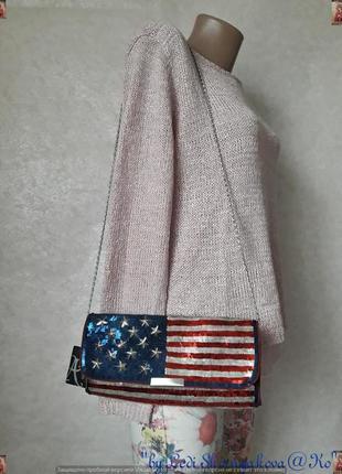 """Фирменный accessorize стильный нарядный клатч в паетки """"флаг сша"""""""