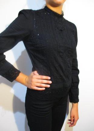 Расшитая кружевом,бисером и пайетками блуза коттон