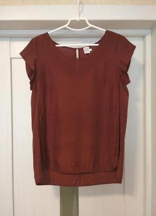 Шелковая блуза футболка терракотовая от vero moda
