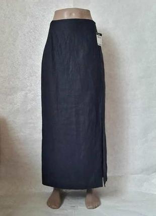 Фирменная yessica лёгка летняя юбка в пол со 100 % льна синего цвета, размер 2хл-3хл