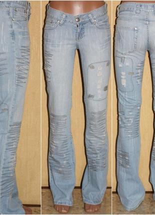"Крутые ""рваные""джинсы голубая варка лёгкий клёш ,likom`s jeans"
