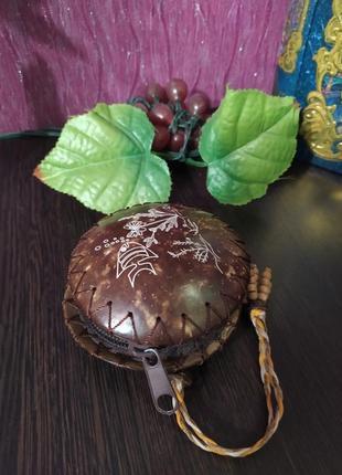 Кошелек на молнии из кокоса ручная работа #бохо