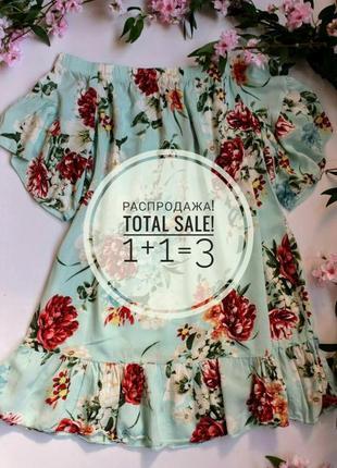 Невероятное новое платье с цветами, мини, на резинке размер xs-m , летнее,нарядное:)