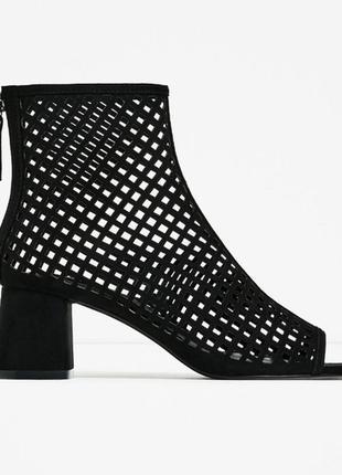Стильные летние чёрные сапоги ботинки zara 36