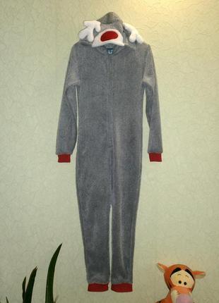 Слип пижама очень теплая с капюшоном 11-12лет hullabaloo