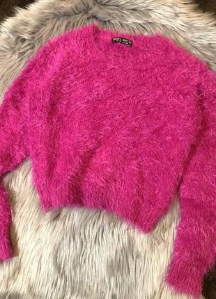 Укороченый свитер травка, свитшот, кофта, светр укорочений, пушистый