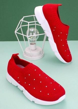 Красные кроссовки со стразами легкие кеды мокасины сетка текстильные