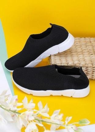 Черные кроссовки кеды мокасины слипоны сетка легкие текстильные