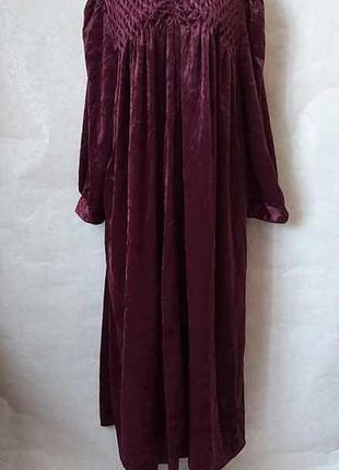 Шикарное просторное платье в пол с мерцающего бархата в цвете марса, размер 5хл-7хл