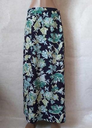 Фирменная длинная юбка/юбка в пол в красочный принт крупные листья, размер 2хл-3хл