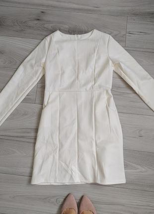 Платье под замшу, белое платье с рукавами