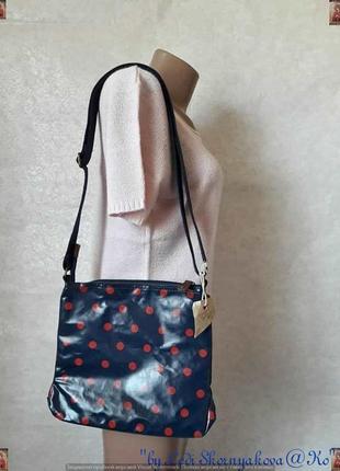 Новая с биркой сумка через плечё синего цвета в красных горошек, широкая ручка