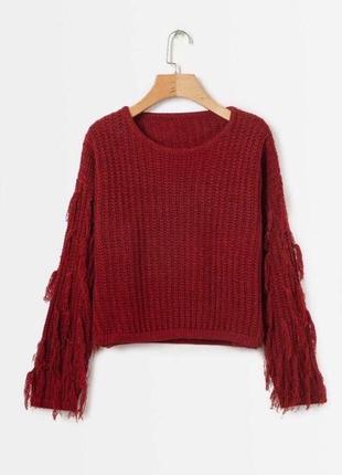 Бордовый вязаный свитер
