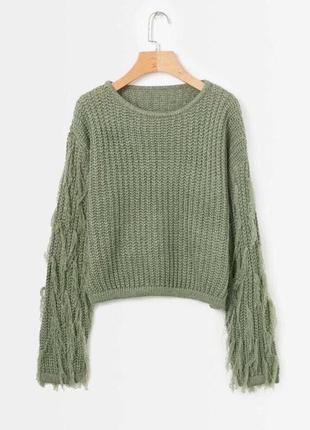 Вязаный свитер цвет хаки