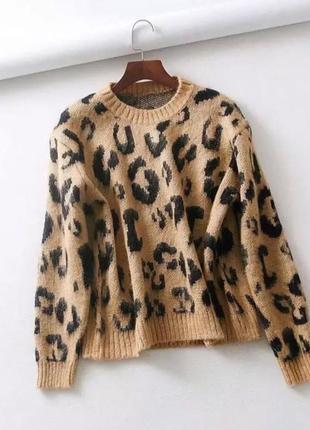 Леопардовый вязаный свитер