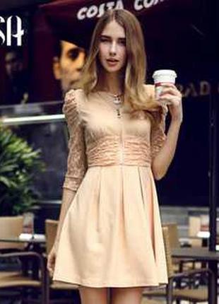 Платье с гипюровыми вставками 2 цвета