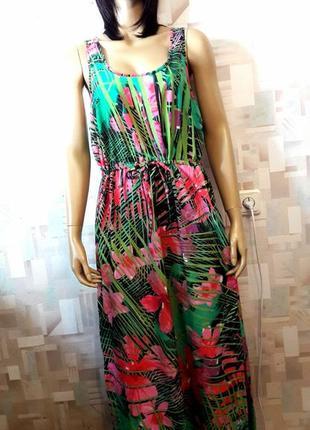 Яркое воздушное макси платье сарафан в цветы от george