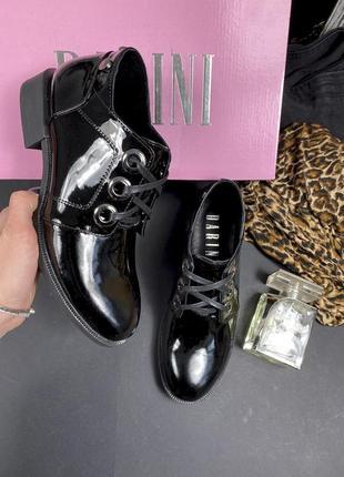 Женские туфли кожаные лаковые