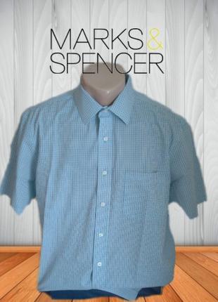🌴🌴marks&spencer regular fit стильная мужская рубашка короткий рукав мелкая клетка 41🌴🌴