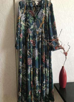 Невероятное  платье тропический принт😍  h&m 40/8/l/xl