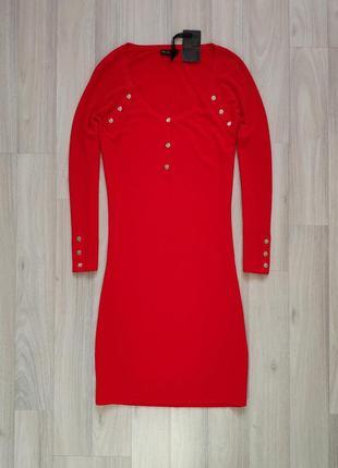 Трикотажна сукня міді с трикотажное красное платье