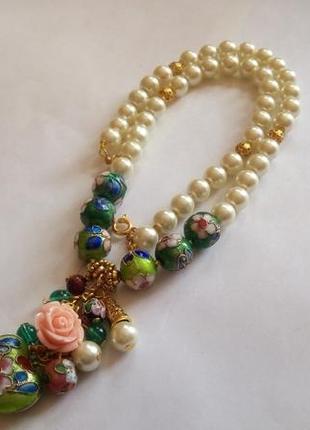 Ожерелье с подвеской , клуазоне, стекло под имитацию жемчуга
