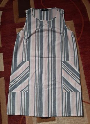 Льняное прямое платье