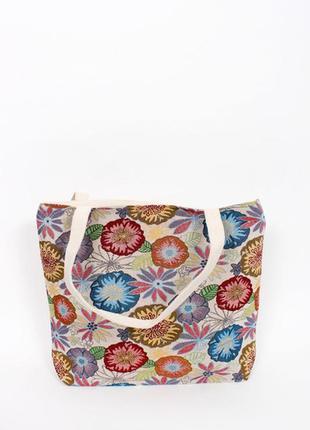 Сумка текстильная цветы