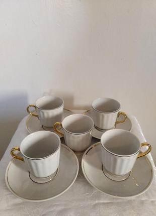 Кофейные  фарфоровые чашки с блюдцами барановского фарфорового завода ссср 70 г.