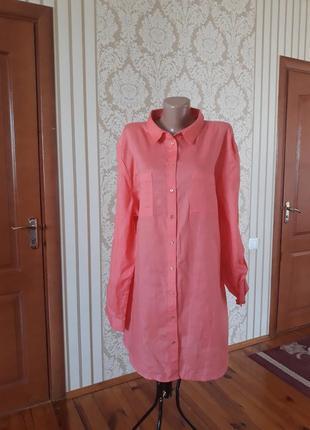 Платье-рубашка туника в красивом персиковом цвете