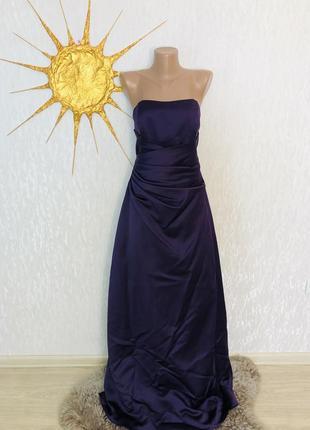 Атласное платье с корсетом  без лямок макси
