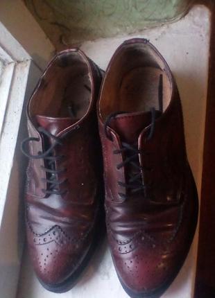 Кожаные итальянские туфли брогги,оксфорды.цвет бордо-марсала.
