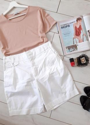 Базовые белоснежные  коттоновые шорты на высокой посадке..# 149