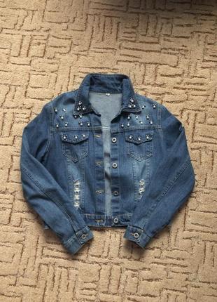 Джинсовка оверсайз синя з бісеринками джинсовка синяя с бисером
