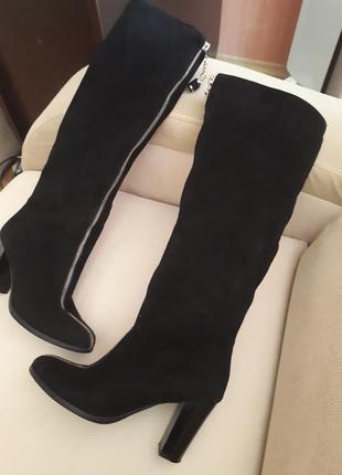 Супер елегантні, стильні чоботи ( ботфорти) шкіряні замшеві sharman. нові.