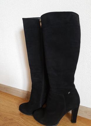 Классические демисезонные сапоги elle на устойчивом каблуке 100% натуральный замш
