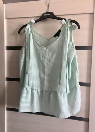 Лёгкая блуза на бретелях на бант с баской распашонка туника л