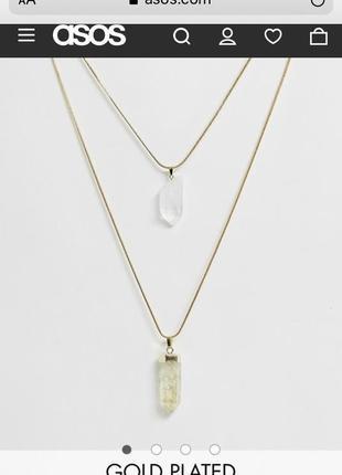 Позолоченное ожерелье asos с кристаллами новое