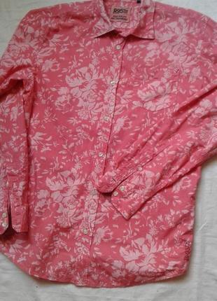 Коттоновая рубашка с цветочным принтом x l