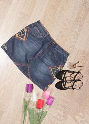 Крутая джинсовая юбка с вышивкой,вещи в наличии💚+скидки, заходите💚