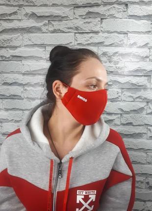 Маска женская текстильная swiss красная с биркой защитная многоразовая 3 слоя