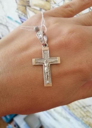 Срібний хрестик з пластиною золота