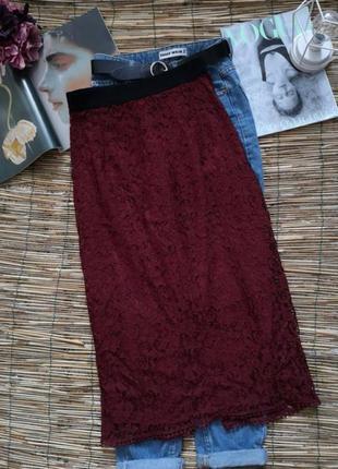 Кружевная юбка марсала 🎁топ рубчик