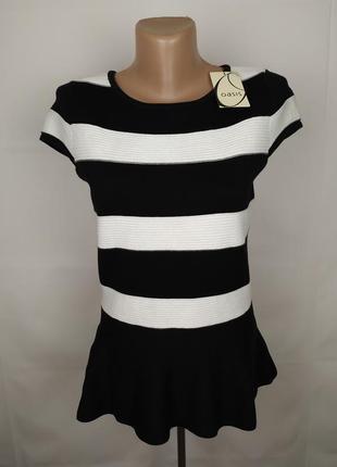Блуза кофточка новая модная в полоску с баской oasis uk 10/38/s